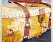 SALE-Vintage Straw Embriodered Flower Bag Leather Handles and Grommets