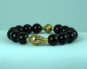 Defending Black Onyx Buddha Bracelet, Stretchy Bracelet, Energy Bracelet, Yoga Bracelet, Free Shipping