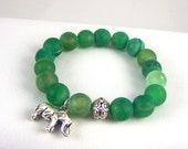Agate Stretch Bracelet, Elephant Bracelet, Unique Gift Ideas, Free Shipping