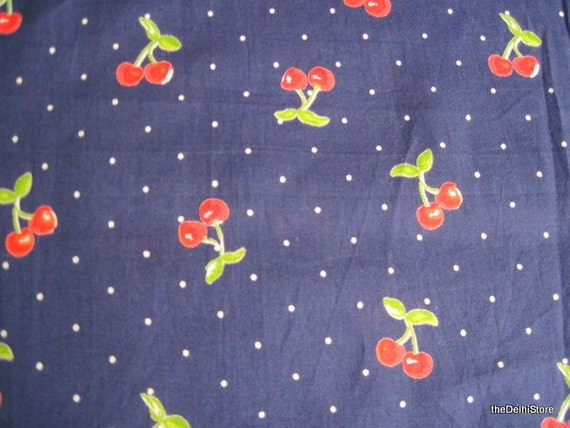 Cotton fabric for kids cherry print in blue 1 by thedelhistore for Kids print fabric