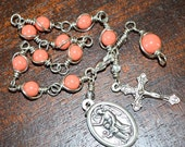 St Michael Bracelet/Chaplet Rosary Coral Pearl-Choice of St. Medal
