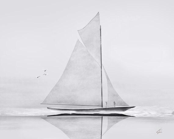 Schooner - 8 x 10 nautical sailing ship schooner art painting