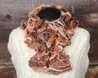 "Handmade ""sienna sparkle"" ruffle scarf"