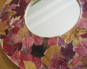Round Paper Mache Mirror with Natural Dry Leaves