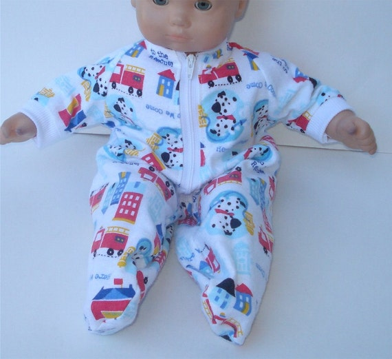 American Girl Bitty Baby Doll Clothes  White Flannel Firetruck, dalmatian, fire hydrant pajamas pjs sleeper