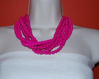Fuchsia Statement Necklace Bright Neon Pink Fuchsia Beaded Necklace Chunky Glass Bead Necklace Bold Bridesmaids Necklace Wedding