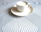 Table runner or napkins white navy blue graphic lines , also pillow cover available, great GIFT - Dreamzzzzz