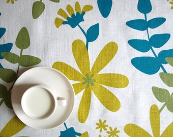 """Linen tablecloth white ivory mustard turquoise blue 37""""x37"""" or made to order your size, also napkins, table runner available, with GIFT"""