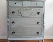 Vintage French Blue/Green Dresser/Chest of Drawers/Bureau