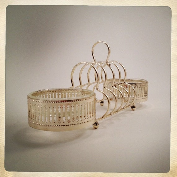 vintage toast rack with side coasters gold tone trefoil desk organizer