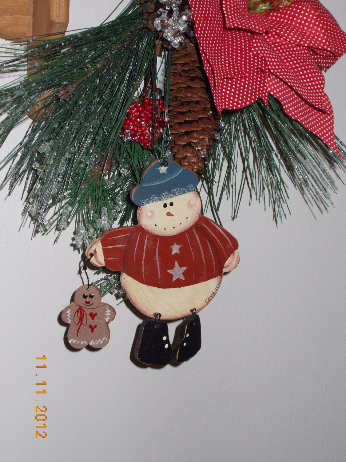 Primitive, snowman, gingerbread,ornament, gift tag, decoration, handmade, free shipping made in USA