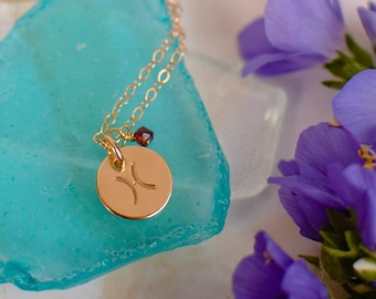 Pisces Necklace - small gold Pisces Zodiac Pendant on 14k Gold Filled Chain with Garnet or CHOOSE GEMSTONE - Tiny Dainty