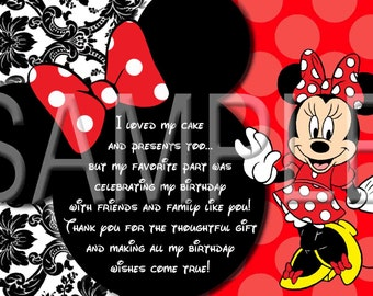Minnie Mouse Red Damask thank you cards
