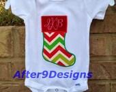 Christmas Stocking Initials Monogram Applique shirt boy or girl