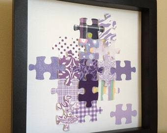 Purple Puzzle Piece, 3D paper art, that can be personalized and customized with your color theme and personalization, perfect of therapists