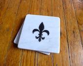 Marble Coasters - Fleur de Lis Design