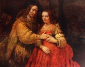 Rembrandt Van Rijn, The Bridal Couple, Dutch Painting Masterpiece, 1952 Print, Love, Marriage, Husband and Wife - APaperReverie