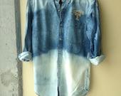 Bleached University Tennessee Spirit Wear Denim Button Down