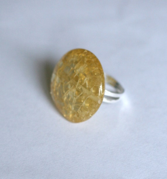 Oversized Yellow Crackle Bead Ring