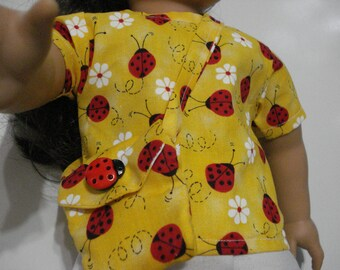 """18"""" Doll Clothes -3 piece outfit lady bug top yellow and white shorts shirt purse hand made DYD016"""