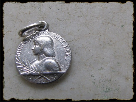 Antique French  Joan Of Arc silver medal by Lavrillier- religious pendant-engraved,1920