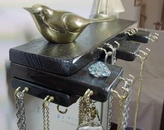 Jewelry Organizer Hanger Stacked Wood Espresso Black Glossy