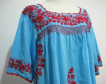 Mexican Embroidered Blouse Cotton Top In Blue, Boho Blouse, Hippie Top