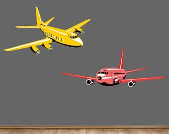REUSABLE Airplane Wall Decals - Childrens Fabric Wall Decal - extra large