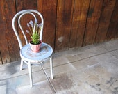 Vintage Refurbished Thonet Distressed Shabby Cottage Chic Slate Blue Decorative Chair