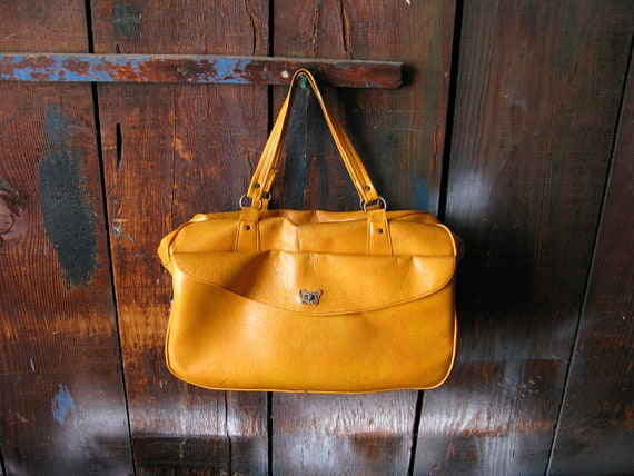 Vintage Mustard Tan Leather Overnight Duffle Bag with Silver Butterfly Hardware