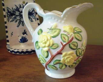 Vintage 1976 Ceramic Pottery Pitcher with Raised Floral Design