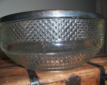Antique Silverplate England Crystal Large Serving Bowl