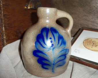 Handmade Stoneware Pottery Crock Jug Cobalt on Brown