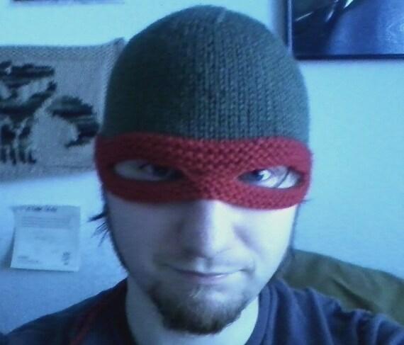 Tmnt Knitting Patterns : Knit TMNT mask hat PATTERN by KnerdyKnittery on Etsy