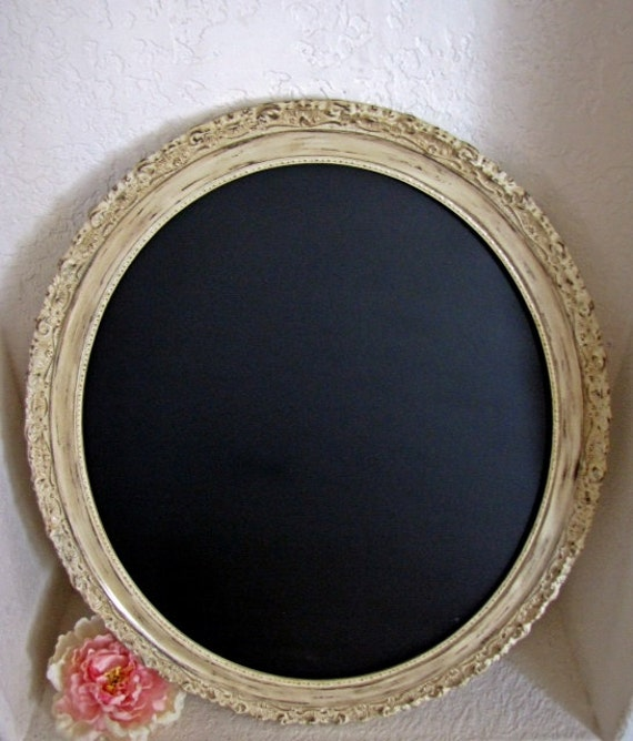 Shabby Chic Chalkboard Oval Ornate Frame Antique White 23x27