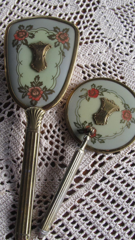 Antique Victorian Vanity Mirror Set Gold By Revintagelannie