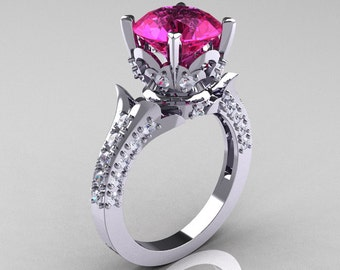 14K White Gold 3.0 Carat Pink Sapphire Diamond Solitaire Wedding Ring R401-14KWGDPS