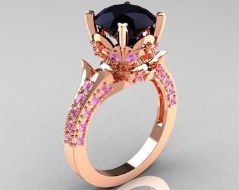 Exclusive 14K Rose Gold 3.0 Carat Black Diamond Light Pink Sapphire Diamond Solitaire Blazer Ring R401-14KRGLPSD
