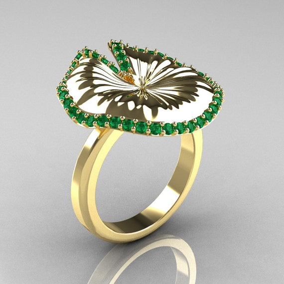 10K Yellow Gold Emerald Water Lily Leaf Wedding Ring, Engagement Ring NN121-10KYGEM