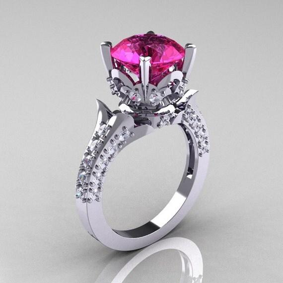 14K White Gold 3.0 Carat Pink Sapphire Diamond Solitaire Wedding Ring R401-14KWGDPS