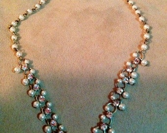 """Vintage 16"""" Faux Pearl and Brass Beaded Necklace with Rhinestones"""