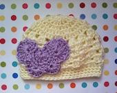 Butterfly Shell Stitch Baby Girl Crochet Hat