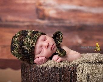 Crochet Newborn Baby Camo Military Hat and Bow tie Set