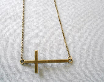 cross necklace - rosary necklace - cross pendant - woman cross necklace - antique bronze cross necklace - cross charm necklace - religious