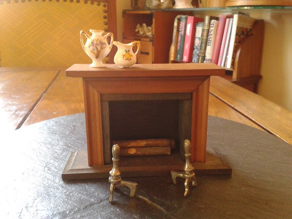 miniature fireplace for dollhouse collector:  shackman traditional fireplace with mantel traditional Thanksgiving doll house decor