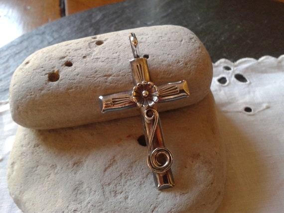 RESERVED 4 DORLENE peterson johnson style flower cross pendant