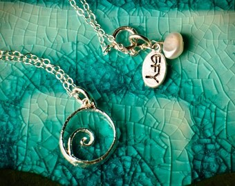 Small Silver Wave Spiral Necklace - Small Dainty Silver pendant on Sterling Silver chain