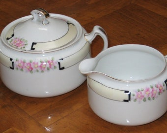 """Handpainted Nippon Lidded Sugar Bowl and Creamer - """"Mystery #63"""""""