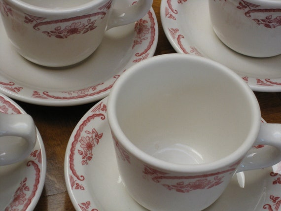 Restaurant Ware - Homer Laughlin American Rose Cups and Saucers