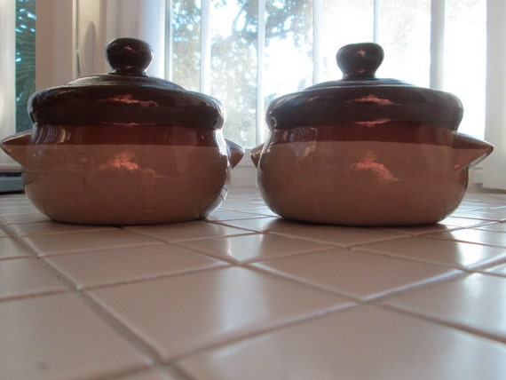 Brown Clay Stoneware Soups Bowls with Lids Set of 2